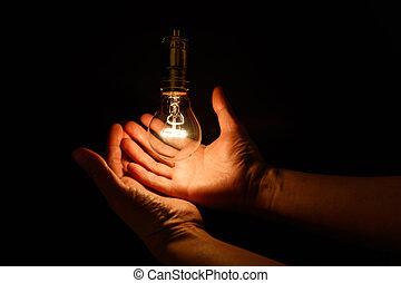 lampadina, mano