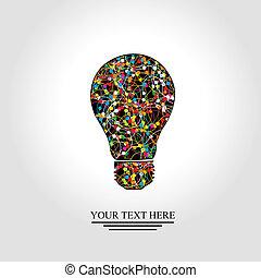 lampadina, rete, colorito, creativo