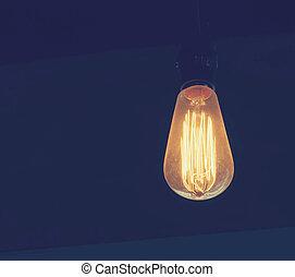 lampadina, retro, disegnato