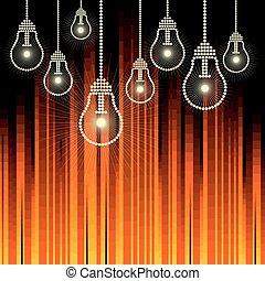 lampadine, ardendo, fila, luce