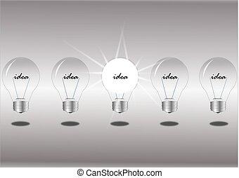 lampadine, bianco, fila, fondo, luce