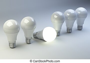 lampadine, differente, condotto, luce, uno, others., fila