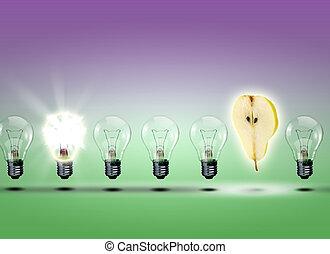 lampadine, elettrico, fila
