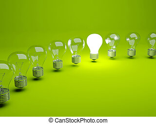 lampadine, fila, luce