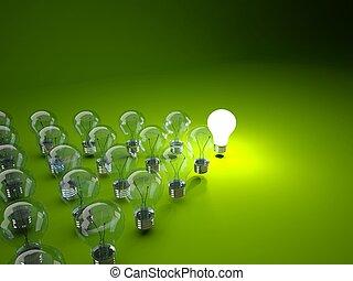 lampadine, fila, sfondo verde, luce