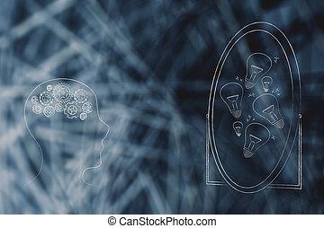 lampadine, gruppo, luce, mente, idea, gearwheel, persona, specchio, staring