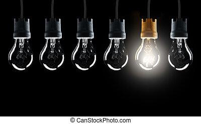lampadine, luce, uno, singolo, shinning, fila