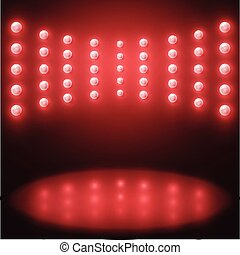 lampadine, luce, vettore, illuminazione, fondo, rosso, palcoscenico