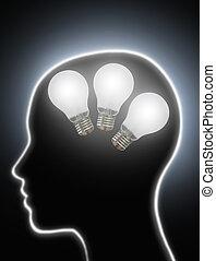 lampadine, potere, luce, creatività, cervello, umano