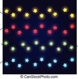 lampadine, set, collection., augurio, luci natale, luce ardente, cartelle, vacanza, natale, design.