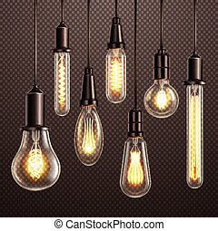 lampadine, trasparente, realistico