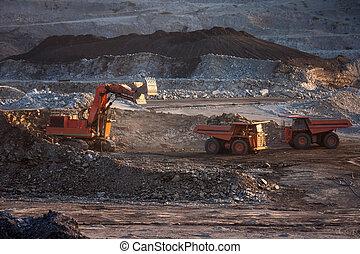 coal-preparation plant. Big mining truck at work site coal ...