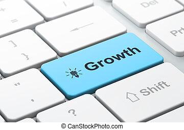 lampe, économie, finance, business, clavier, énergie, sélectionné, foyer, bouton, render, informatique, croissance, entrer, mot, icône, concept:, 3d