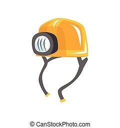 lampe électrique, casque, ouvrier, jaune