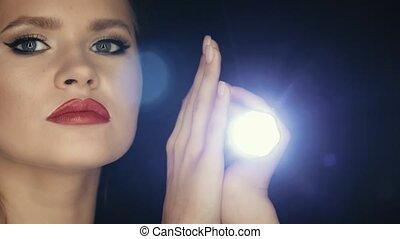 lampe électrique, diana, teinté, portrait