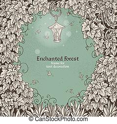 lampe électrique, enchanté, cadre, forêt