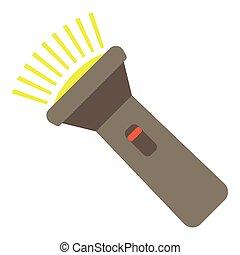 lampe électrique, icône, plat, style