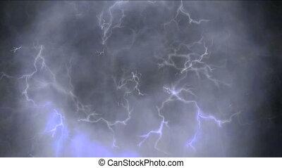 lampe électrique, nuages, 4k