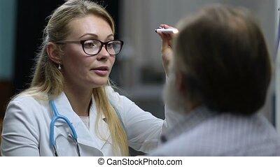 lampe électrique, vérification, réflexe, neurologue, pupillary