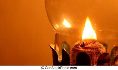 lampe, cheminée