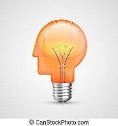 lampe, concept, tête, idée, créatif