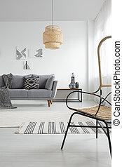 lampe, dans, blanc, spacieux, appartement, intérieur, à, modelé, couverture, sur, gris, couch., vrai, photo