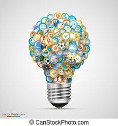 lampe, ensemble, icônes
