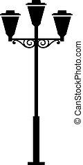 lampe, extérieur, poste