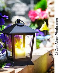 lampe, grab, licht, laterne