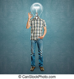 lampe, homme, ok, tête, spectacles