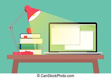 lampe, livres, espace de travail, ordinateur portable