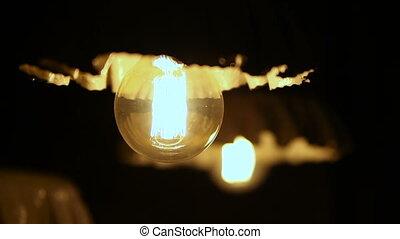 lampe, lueurs, électrique, plancher