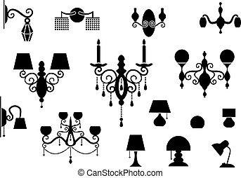 lampe, lustre, silhouette, ensembles