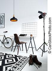 lampe, mandlig, studio, workspace