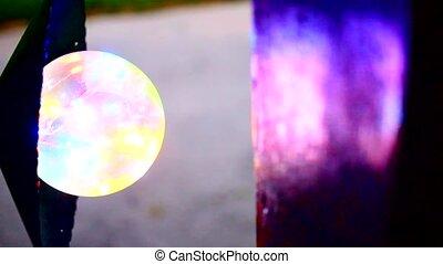lampe, multi-coloré, rue