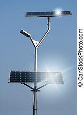 lampe, panneaux, solaire