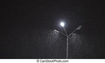 lampe, rue, chute neige, nuit