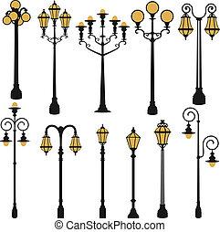lampe, rue, ensemble