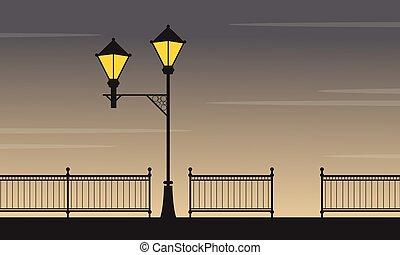 lampe, rue, paysage, beauté, nuit