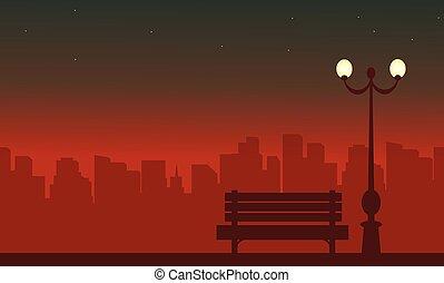 lampe, rue, silhouette, paysage, nuit
