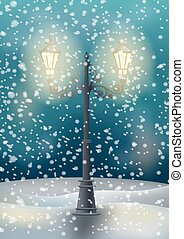 lampe, rue, vieux, dessin animé