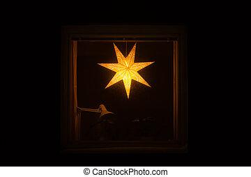 Draußen, lampe, bezug, fenster, dekorieren, weihnachten