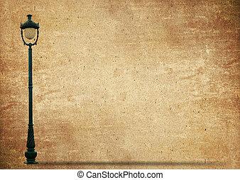 lampe, straße, straße, heller pole, auf, altes , grunge, papier