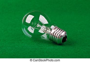 lampe, sur, a, vert, tissu