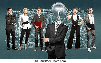 lampe, tête, equipe affaires