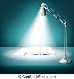 lampe table, livre, ouvert, bureau