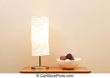 lampe, und, schüssel, auf, klein, tisch