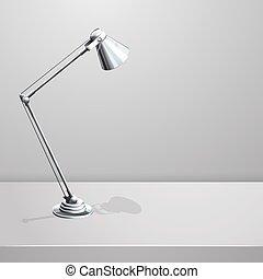 lampe, vecteur, fond, bureau, blanc, table., vide
