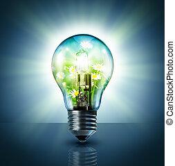 lampe, -, vert, écologique, idée