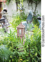 lampe, vieux, jardin